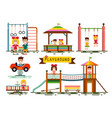 kids on playground set isolated on white vector image