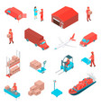 logistic isometric icons set vector image
