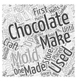 Making Chocolate Using Molds Word Cloud Concept vector image vector image