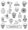 mexican line icons vector image