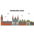 netherlands hague city skyline architecture vector image vector image