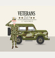 patriotic soldier with uniform and military car vector image vector image