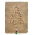 pen line drawing christmas tree craft vector image vector image