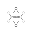 Police star outline icon Linear vector image vector image