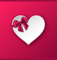 realistic paper heart with bow vector image vector image
