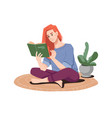 redhead girl reading book in lotus pose on floor vector image