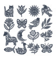 scandi animals collection vector image