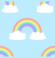 seamless cartoon pattern with cute clouds vector image vector image