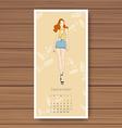 september hand drawn fashion models calendar 2016 vector image vector image