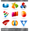 set 3d icons or logos vector image