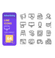 set 64px advertising simple lines icons banners vector image
