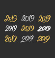 set of handwritten numbers 2019 for new year vector image vector image