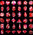 set of red gems of different cuts vector image vector image