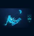 silhouette a kitesurfer kitesurfing hydrofoil vector image vector image