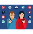 social media addiction concept vector image vector image