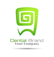 Stylized Tooth Icon logo template green for dental vector image vector image