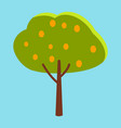 tall tree with green leaves and orange fruits vector image vector image