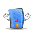 tongue out credit card character cartoon vector image vector image