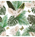 tropical seamless composition white background vector image vector image