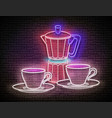 vintage glow signboard with cup coffee and vector image vector image