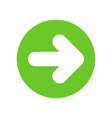 white right next arrow in green circle 2 vector image vector image