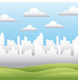 white silhouette city field sky landscape vector image