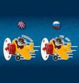 elephant is flying on an airplaneset of stickers vector image