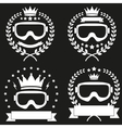 Set of Vintage Ice Snowboarding or SKI Club Badge vector image
