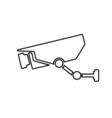 Surveillance camera outline icon Linear vector image
