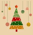 christmas greeting card christmas decorated tree vector image