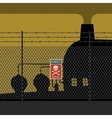 Danger zone with fence and factory vector image