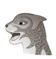 head of a wild cat zen tangle feline face vector image