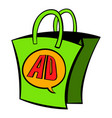 shopping bag with ad letters icon cartoon vector image