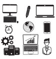 technology computer telephone and people vector image