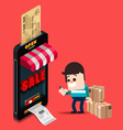 A man use credit card for buy from online store vector image vector image