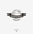 Basketball emblem logo badge with ribbon for