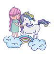 beauty unicorn with nice girl in the rainbow vector image vector image