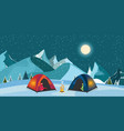 campfire and tourist tent on snowy meadow vector image