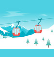 Cartoon car cabins cableway in mountains vector image