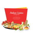 cartoon italian cuisine elements below vector image vector image