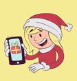 Christmas Girl Holding Phone vector image