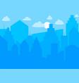 city skyline urban landscape blue city silhouette vector image
