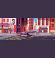 city street with police station car and houses vector image