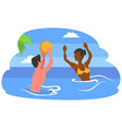 couple playing ball in sea summer vacation vector image vector image