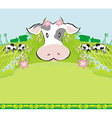 Cows graze in the meadow - abstract funny vector image vector image