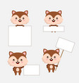 cute animal with blanks for text in cartoon style vector image vector image