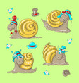 cute funny cartoon snails in different hats vector image