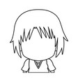 faceless anime tennager hair style contour vector image vector image