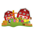 farm scene with two girls do laundry vector image vector image