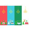 flat design christmas interior decor set vector image vector image